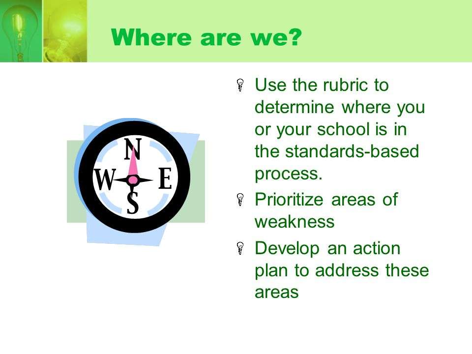 Where are we Use the rubric to determine where you or your school is in the standards-based process.