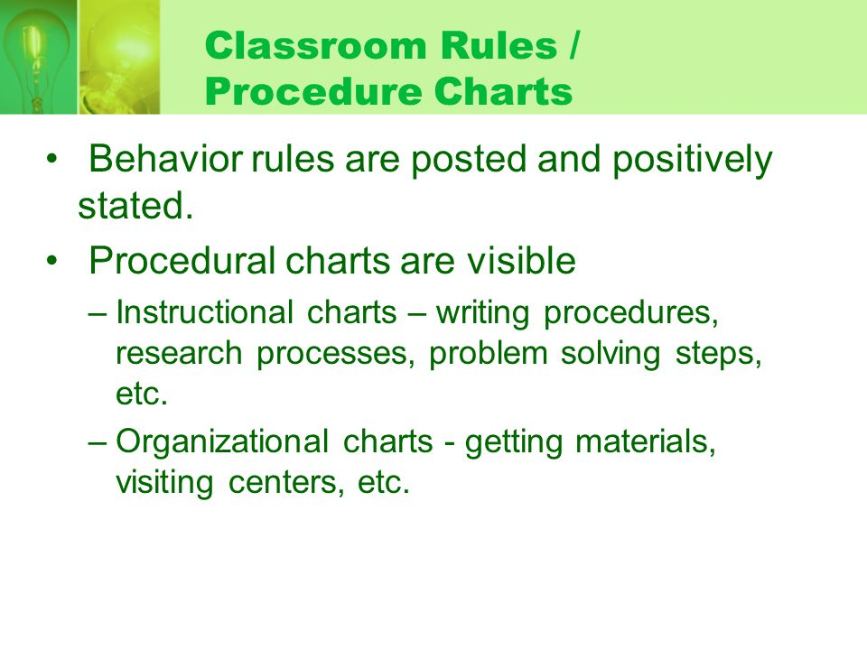 Classroom Rules / Procedure Charts