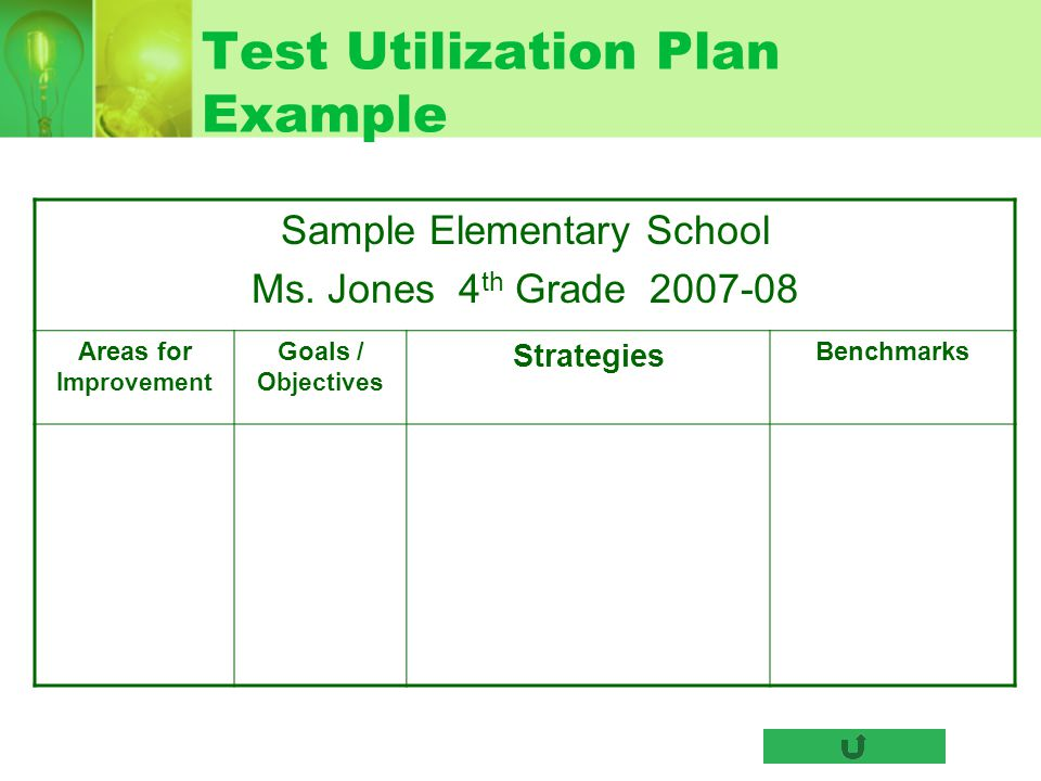 Test Utilization Plan Example