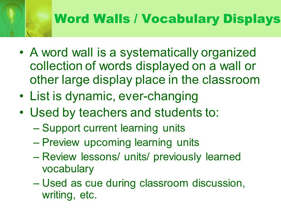 Word Walls / Vocabulary Displays