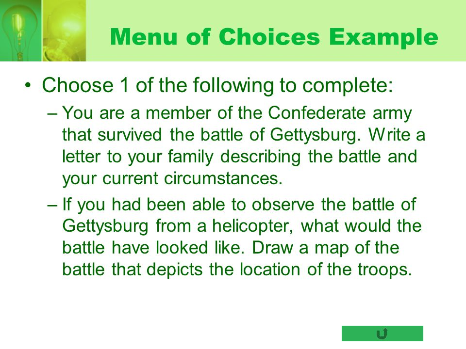 Menu of Choices Example