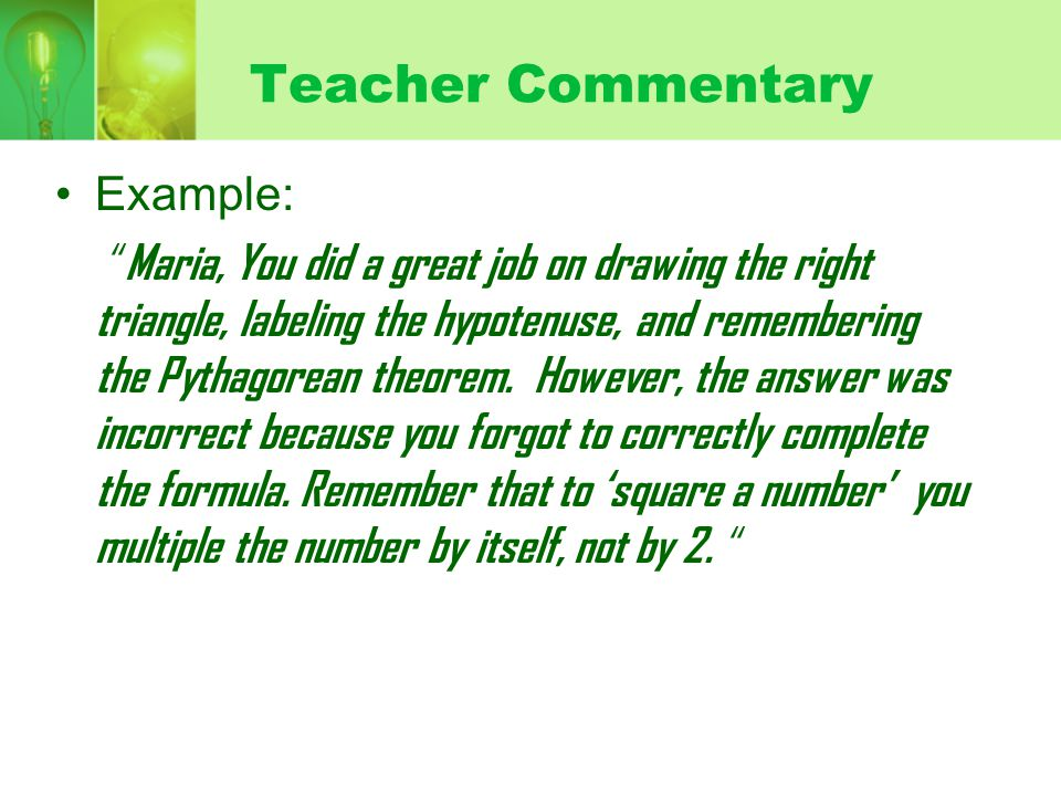 Teacher Commentary Example: