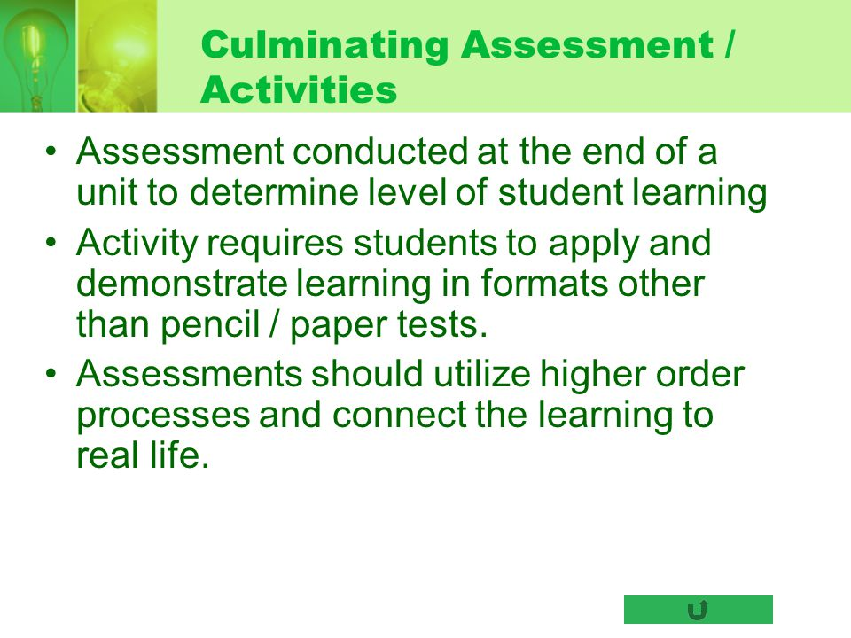 Culminating Assessment / Activities