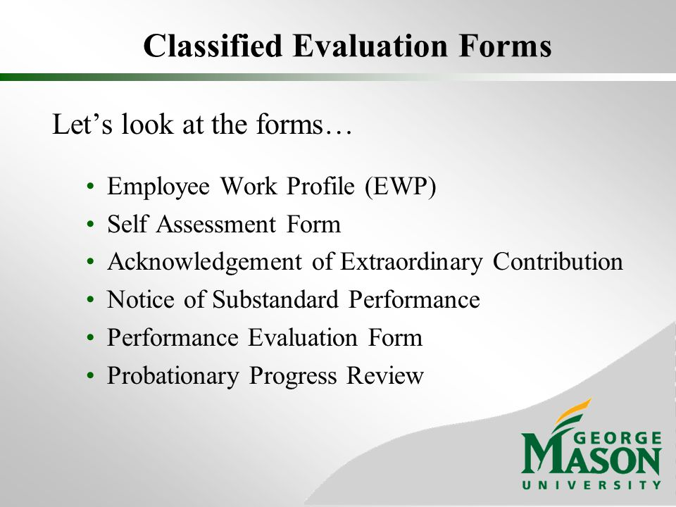 Classified Evaluation Forms
