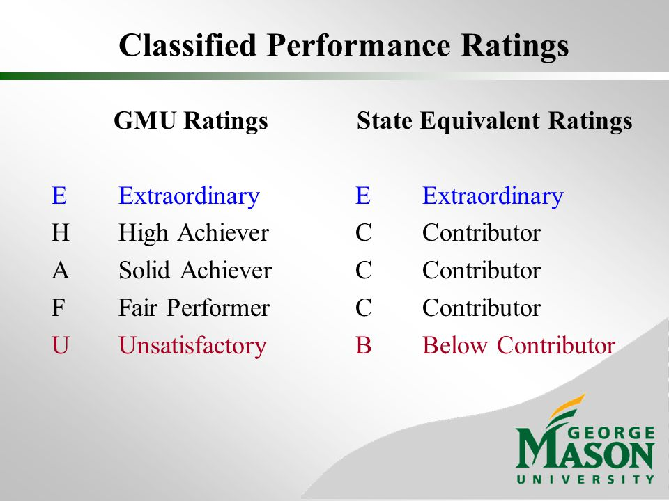 Classified Performance Ratings