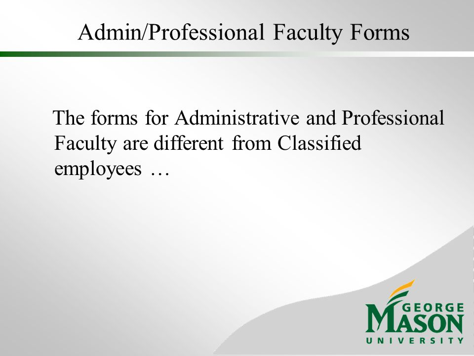 Admin/Professional Faculty Forms