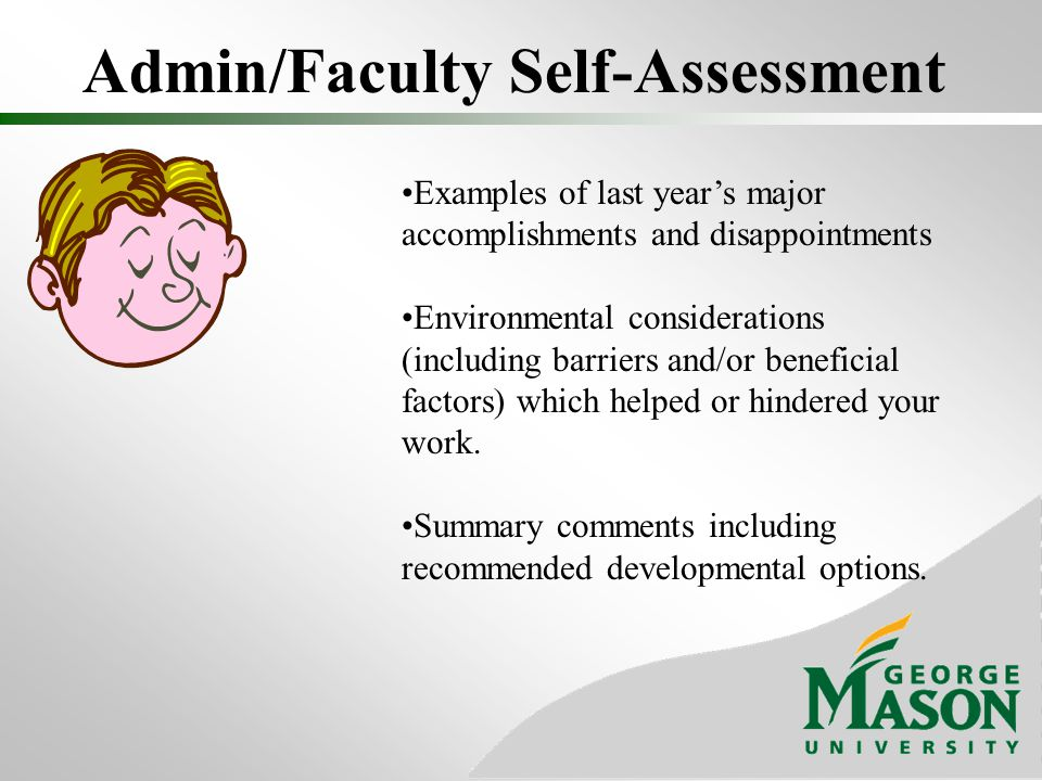 Admin/Faculty Self-Assessment