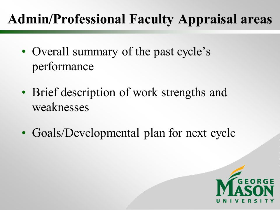 Admin/Professional Faculty Appraisal areas