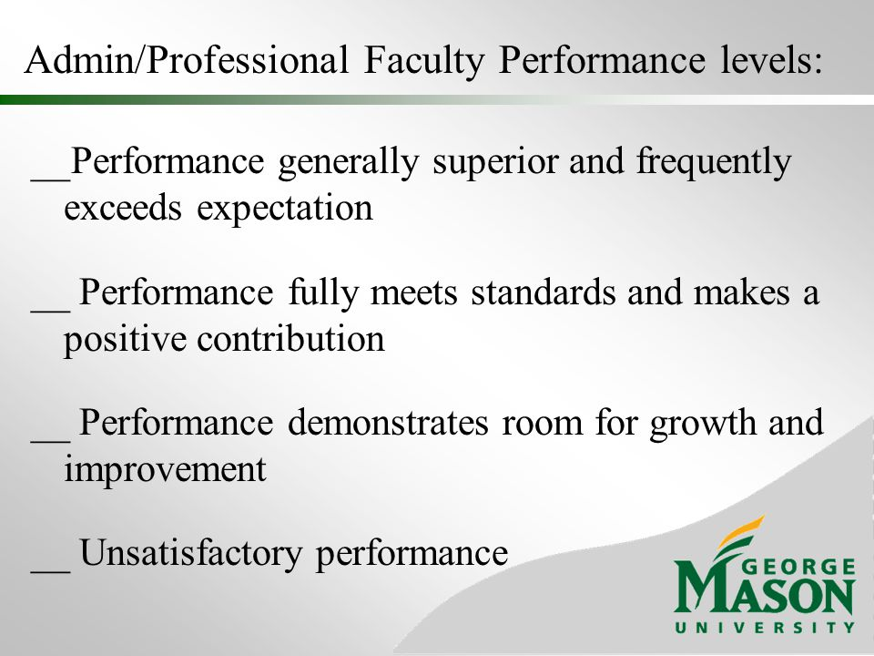Admin/Professional Faculty Performance levels: