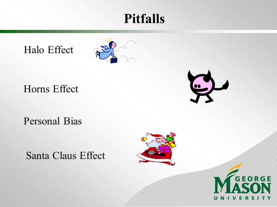 Pitfalls Halo Effect Horns Effect Personal Bias Santa Claus Effect