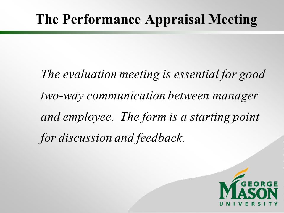 The Performance Appraisal Meeting