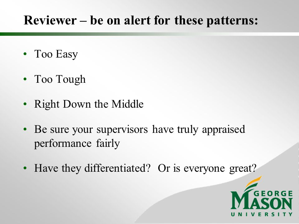 Reviewer – be on alert for these patterns: