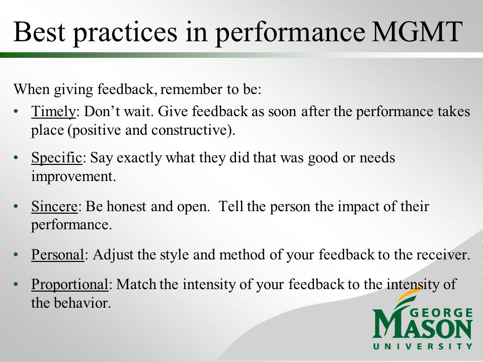 Best practices in performance MGMT