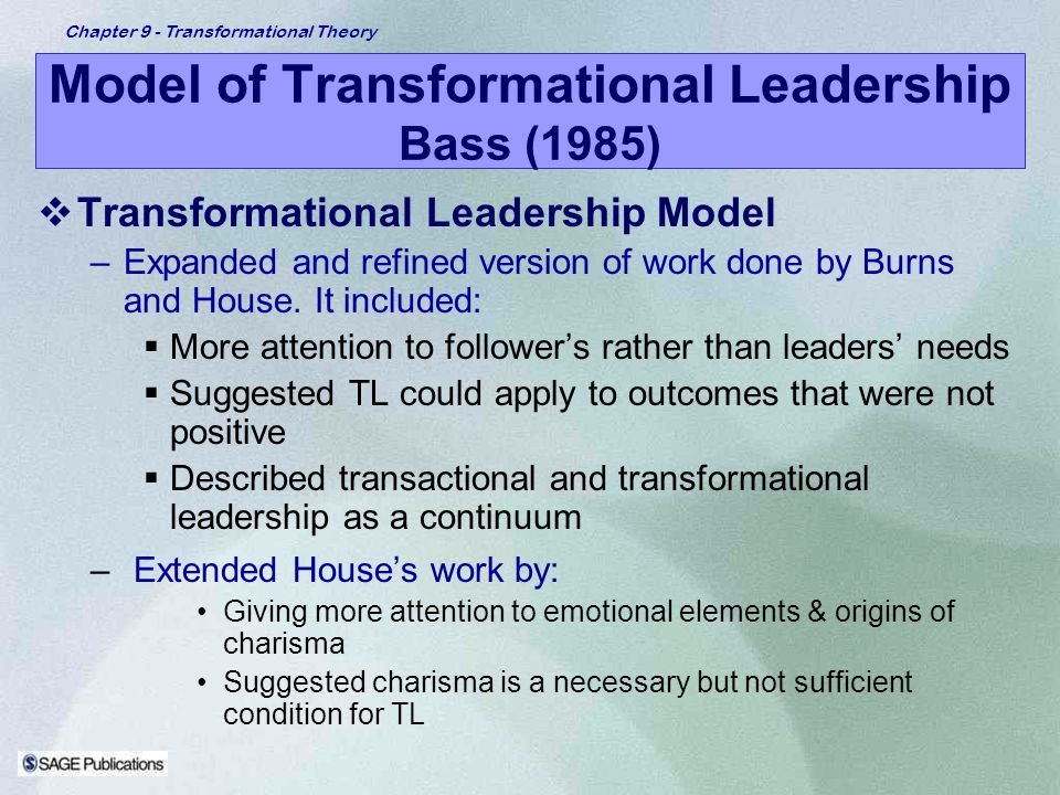 Model of Transformational Leadership Bass (1985)