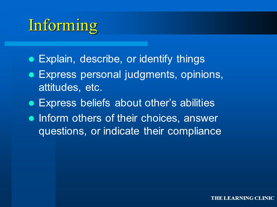 Informing Explain, describe, or identify things