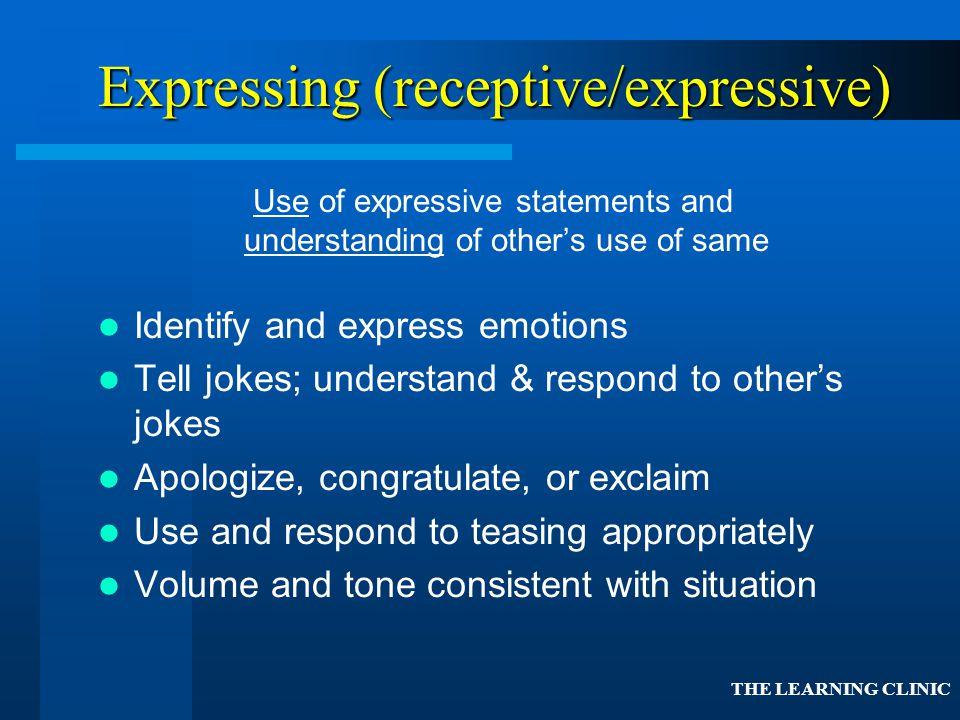 Expressing (receptive/expressive)