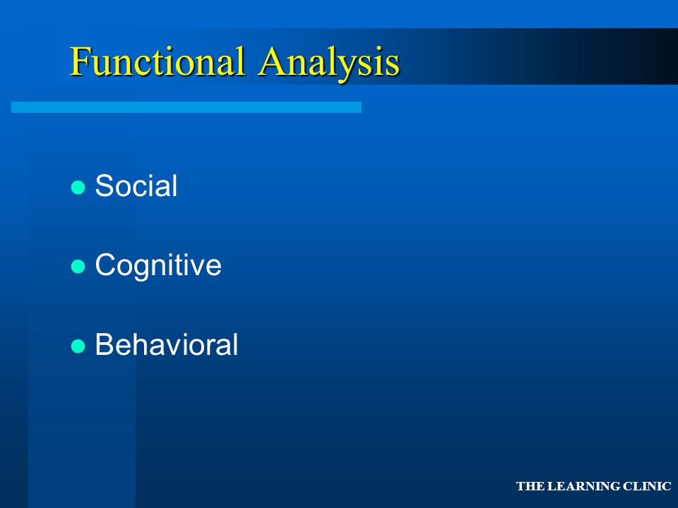 Functional Analysis Social Cognitive Behavioral