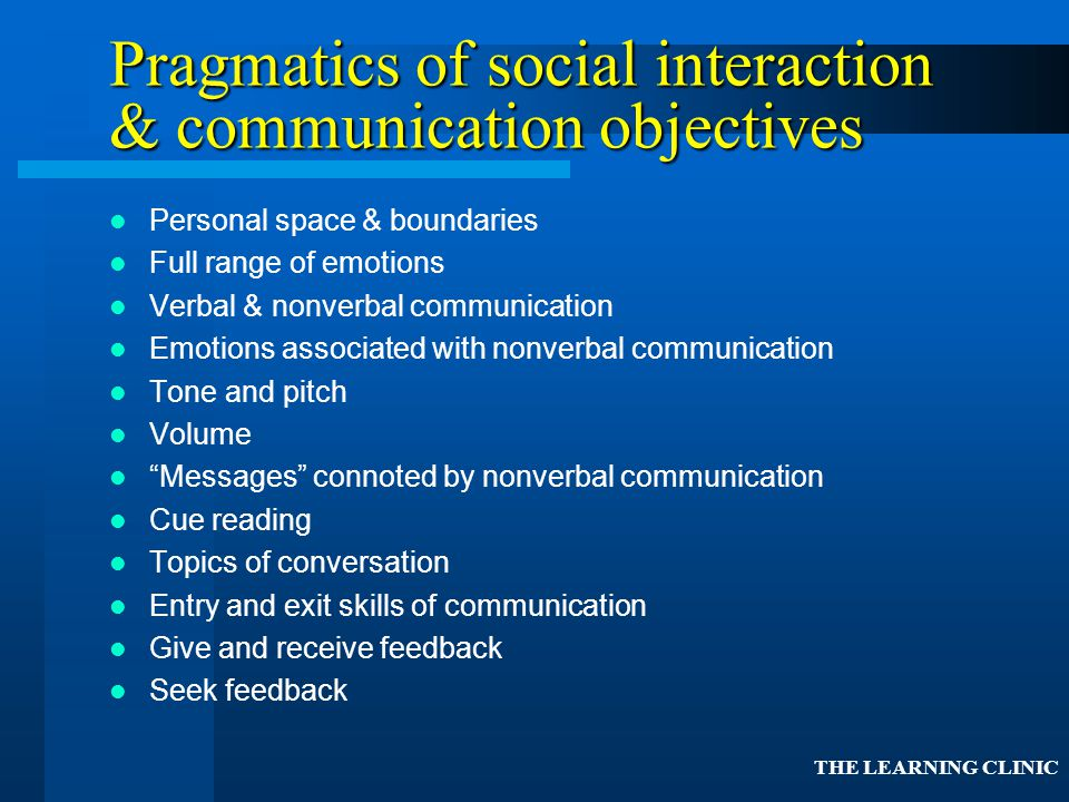 Pragmatics of social interaction & communication objectives