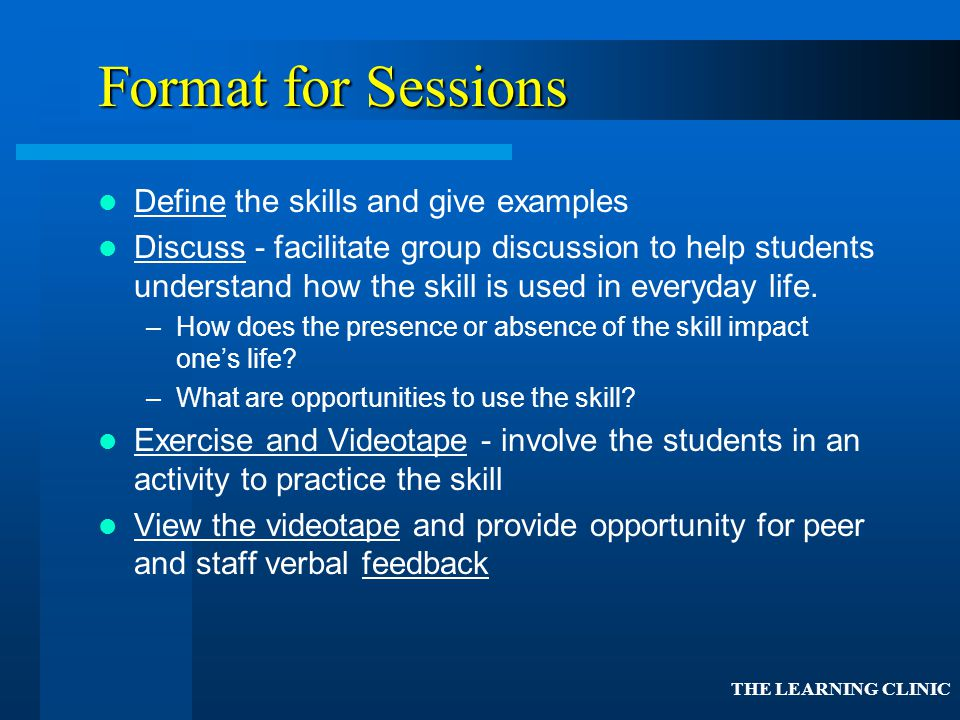 Format for Sessions Define the skills and give examples