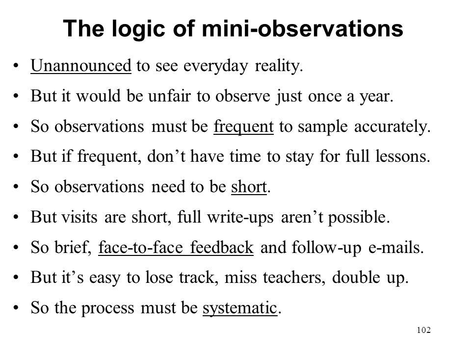 The logic of mini-observations