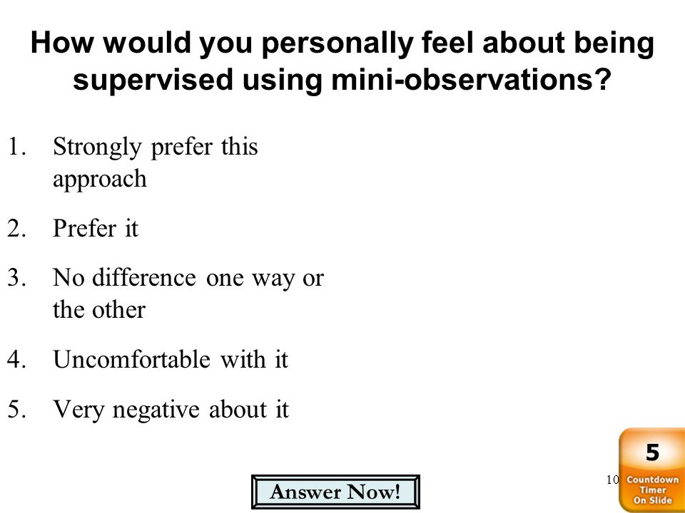 How would you personally feel about being supervised using mini-observations