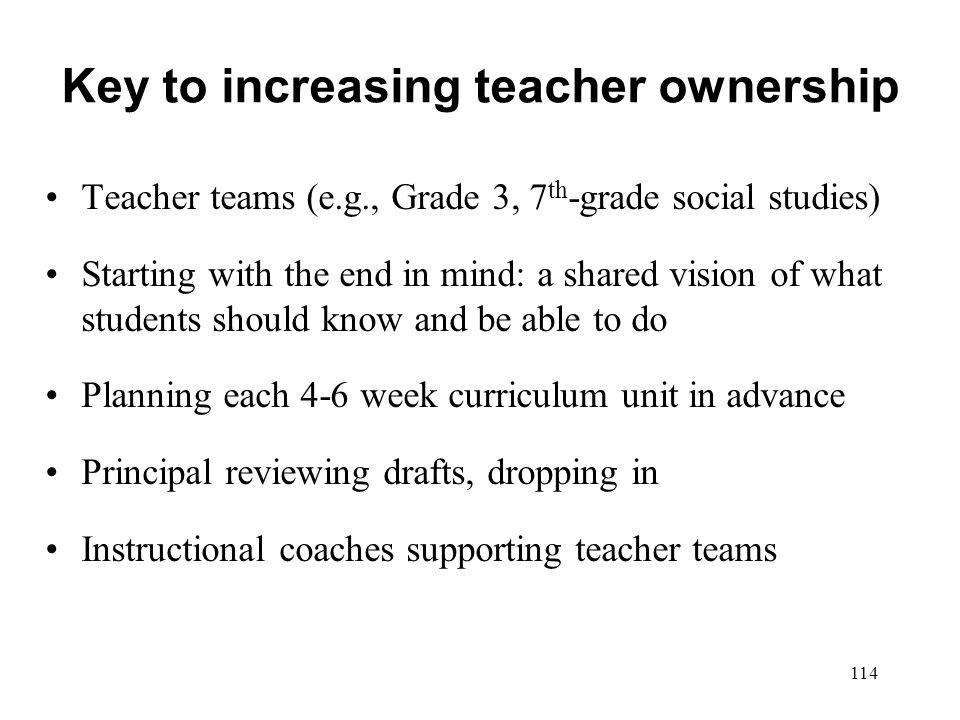Key to increasing teacher ownership