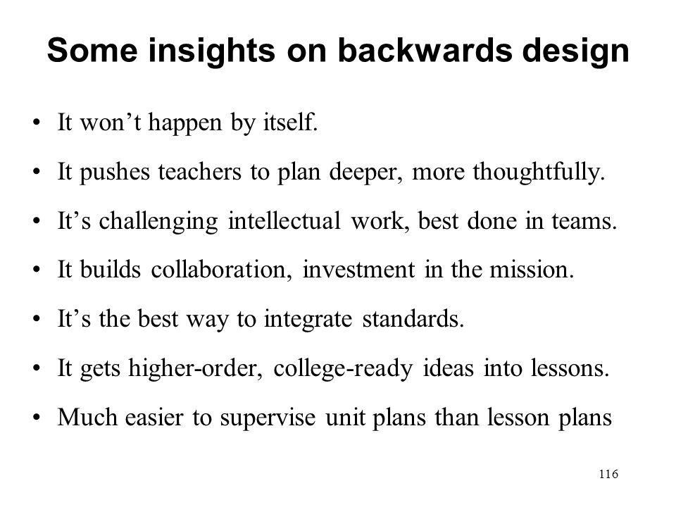 Some insights on backwards design