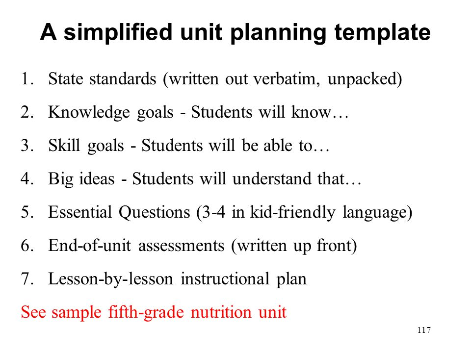 A simplified unit planning template