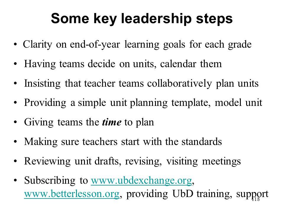 Some key leadership steps