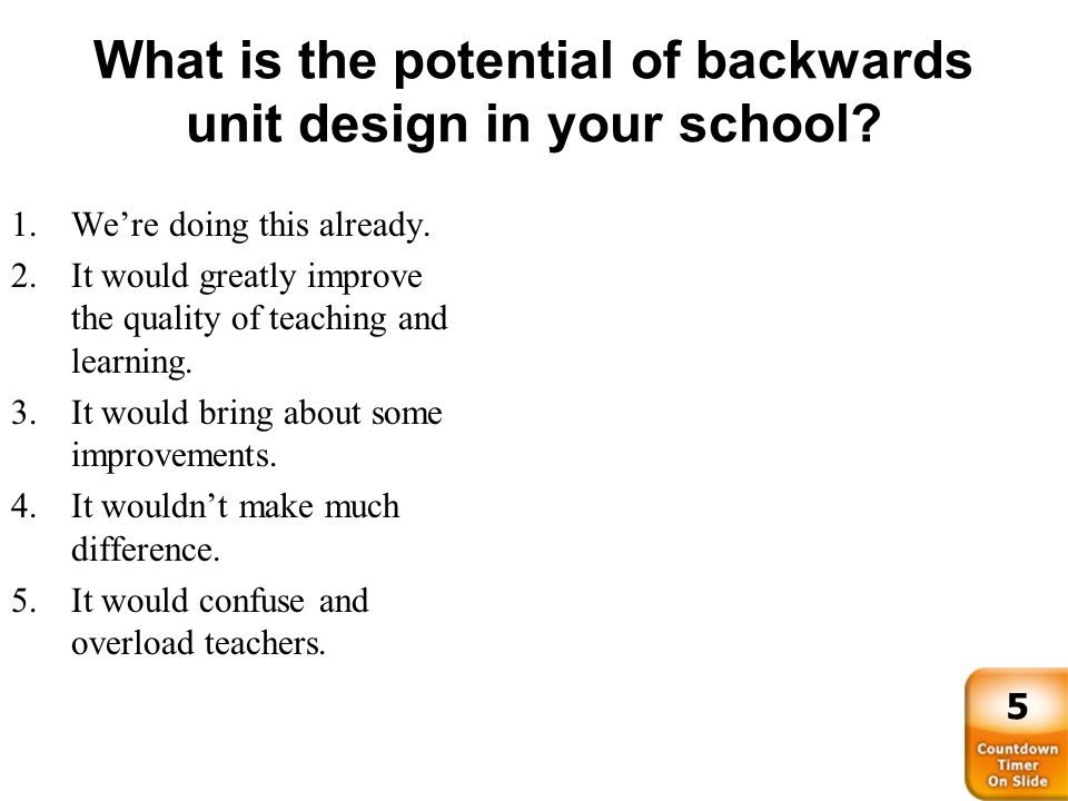 What is the potential of backwards unit design in your school