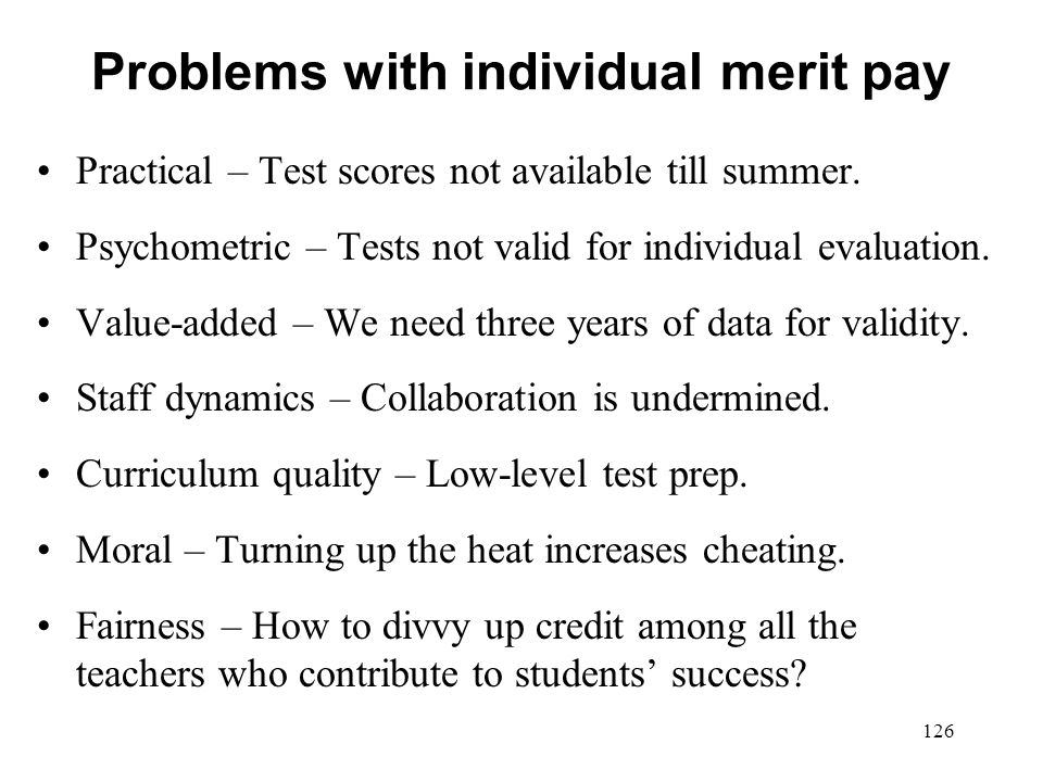 Problems with individual merit pay