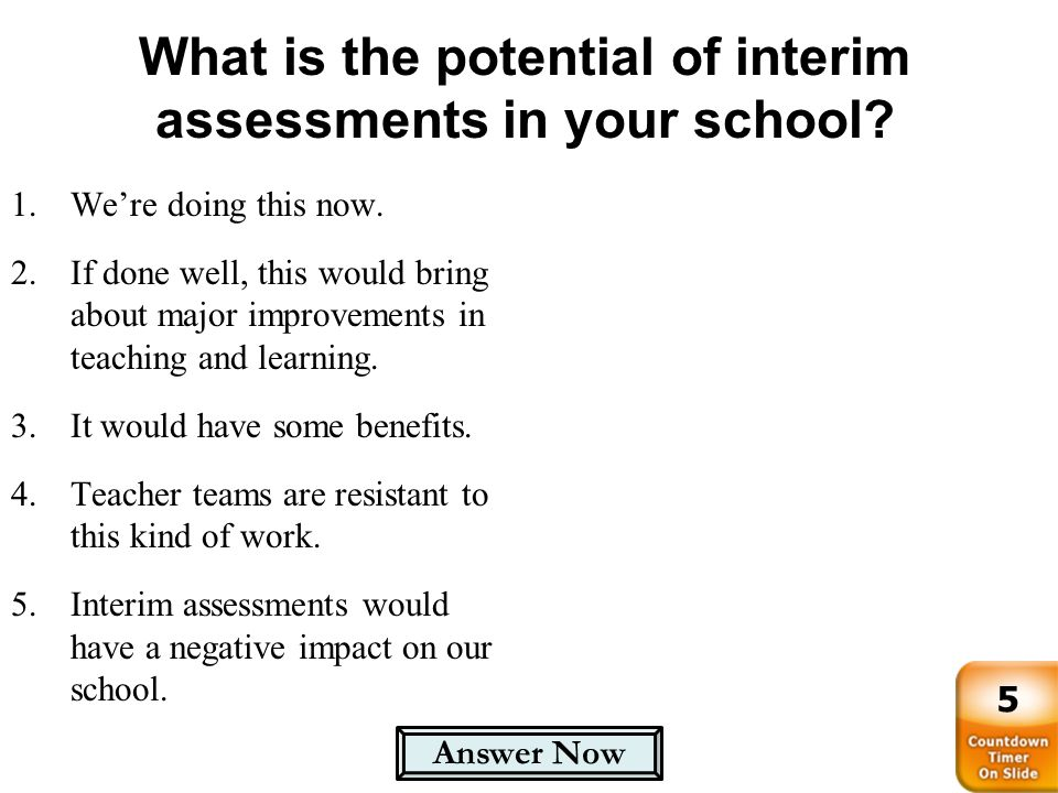 What is the potential of interim assessments in your school