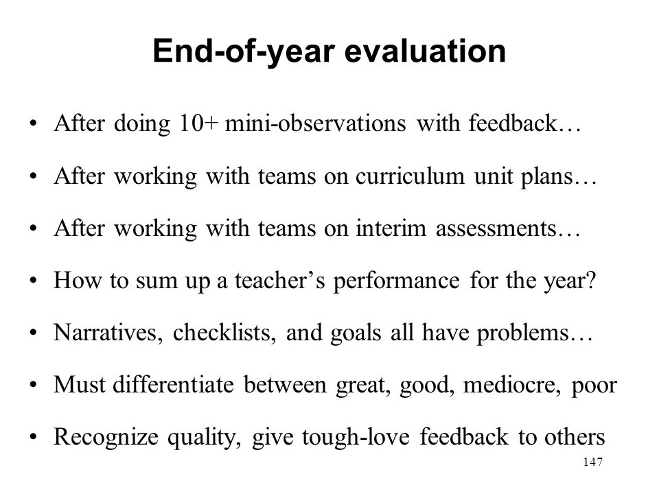 End-of-year evaluation