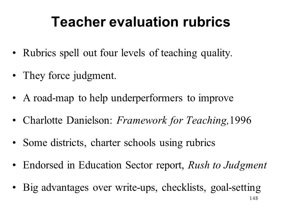 Teacher evaluation rubrics