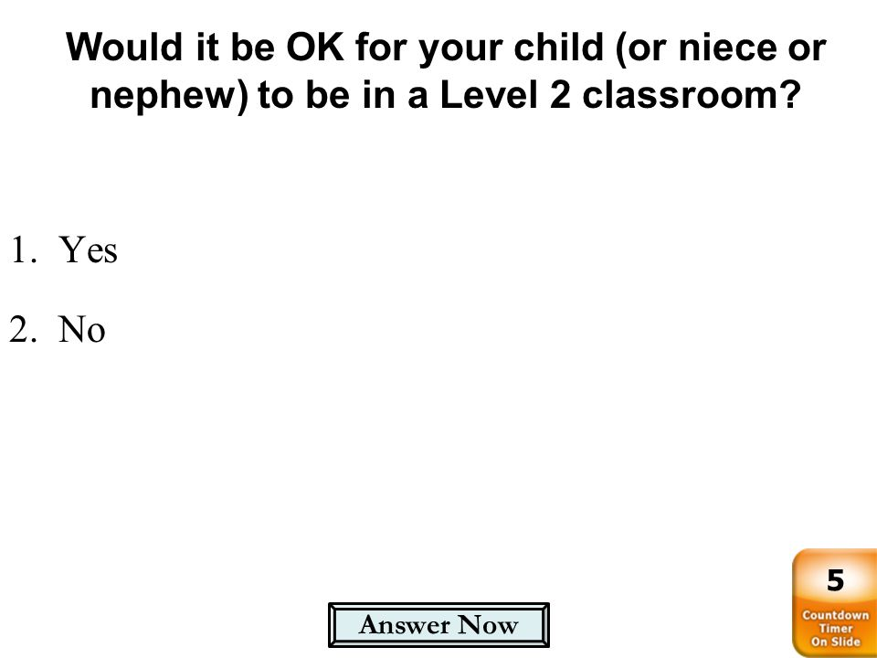 Would it be OK for your child (or niece or nephew) to be in a Level 2 classroom