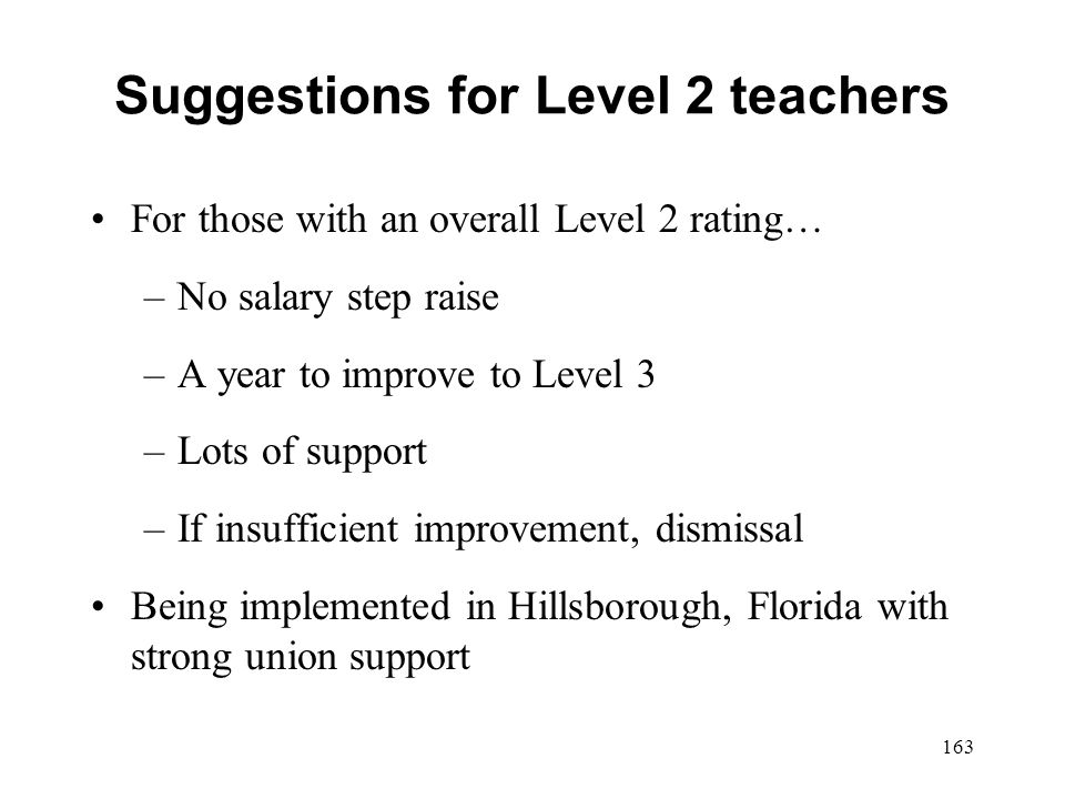 Suggestions for Level 2 teachers