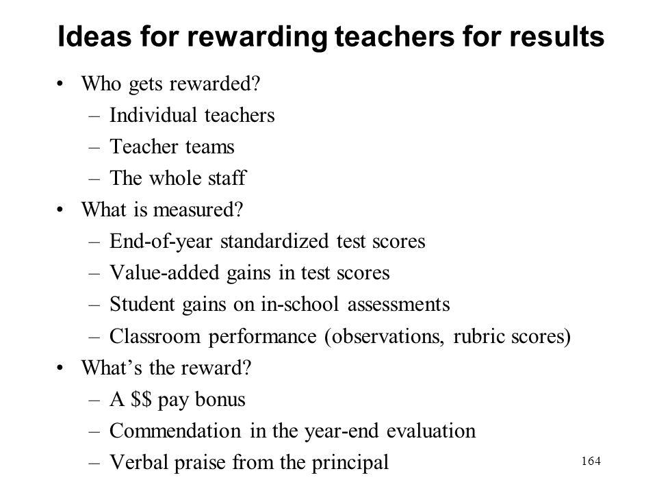 Ideas for rewarding teachers for results