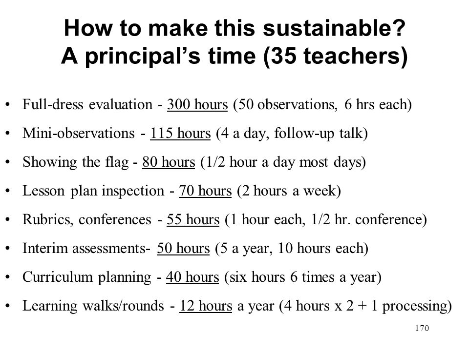 How to make this sustainable A principal's time (35 teachers)
