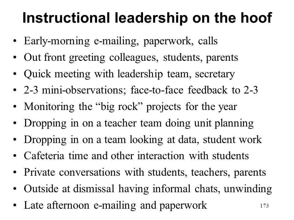 Instructional leadership on the hoof