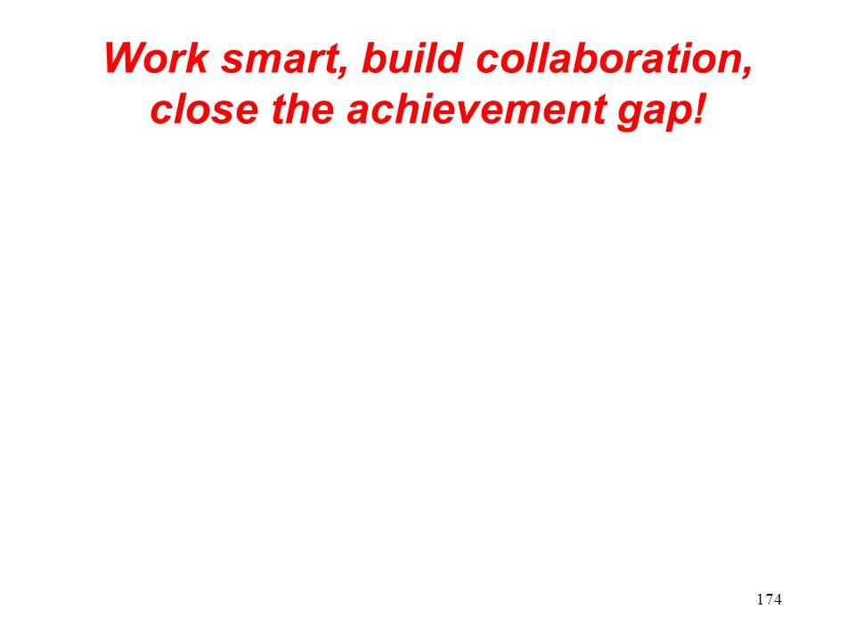 Work smart, build collaboration, close the achievement gap!