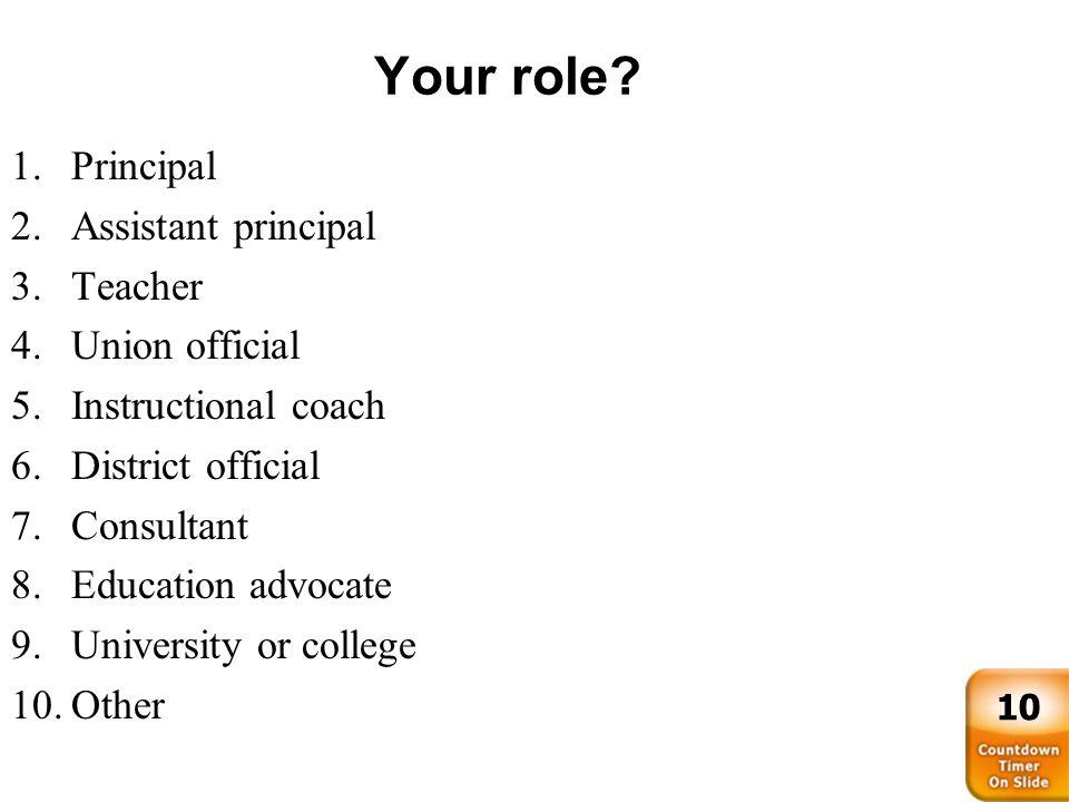 Your role Principal Assistant principal Teacher Union official