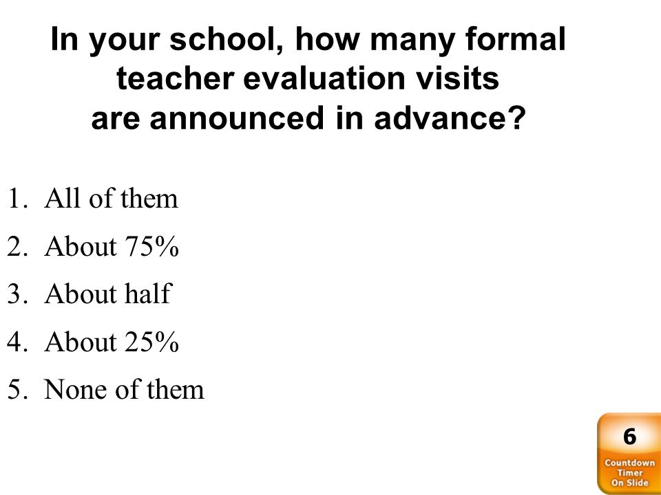 In your school, how many formal teacher evaluation visits are announced in advance