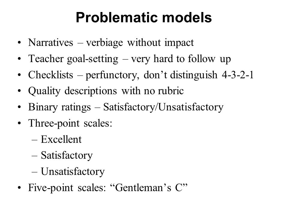 Problematic models Narratives – verbiage without impact