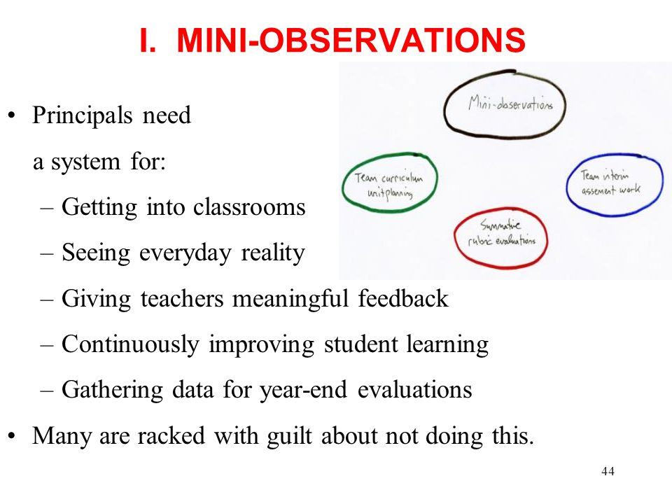 I. MINI-OBSERVATIONS Principals need a system for: