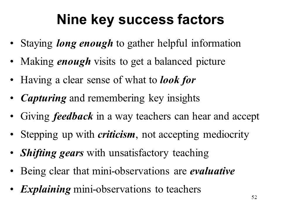 Nine key success factors