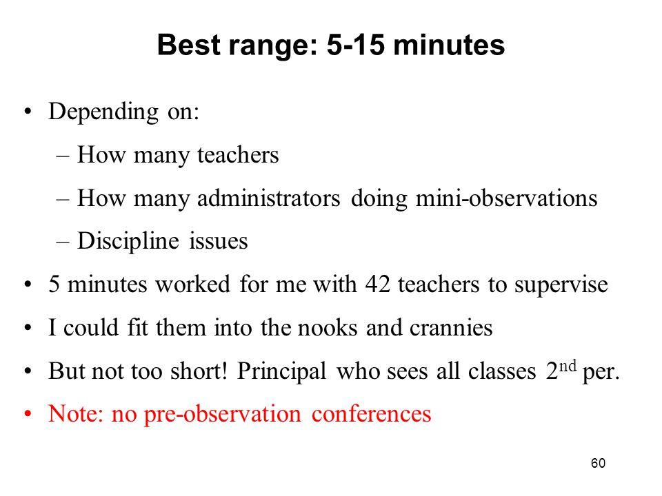 Best range: 5-15 minutes Depending on: How many teachers