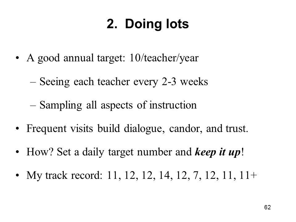 2. Doing lots A good annual target: 10/teacher/year