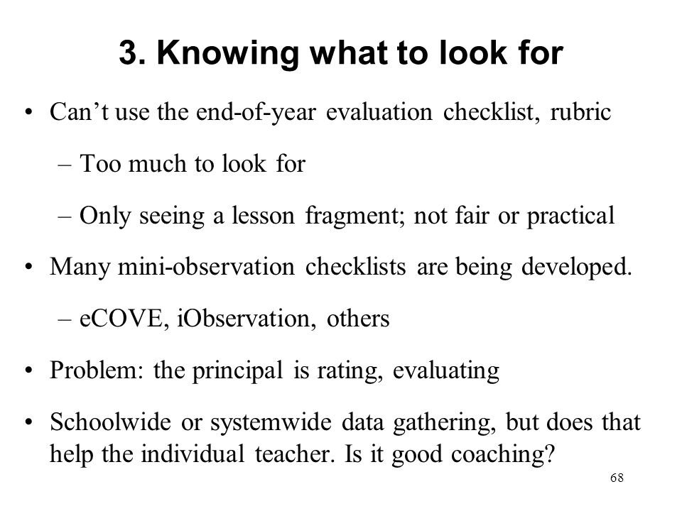 3. Knowing what to look for