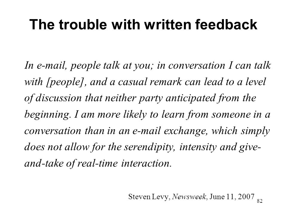 The trouble with written feedback