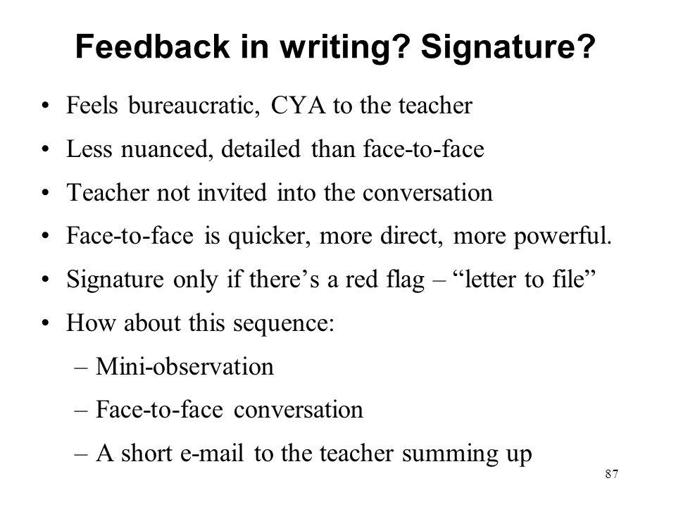 Feedback in writing Signature